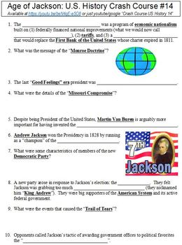 Crash Course U.S. History #14 (Age of Jackson) worksheet