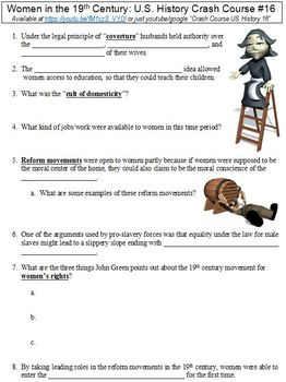 U.S. History Crash Course #16 (Women in the 19th Century) worksheet