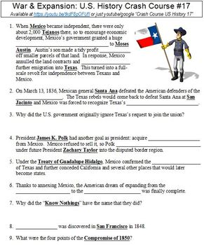 U.S. History Crash Course #17 (War & Expansion) worksheet