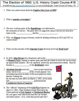 Crash Course U.S. History #18 (The Election of 1860) worksheet