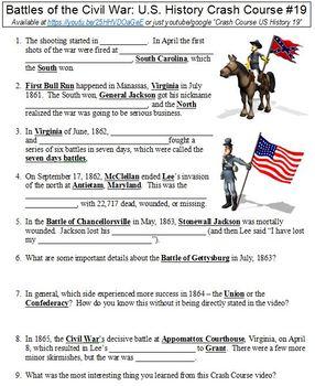 U.S. History Crash Course #19 (Battles of the Civil War) worksheet