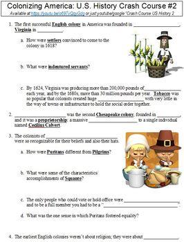 U.S. History Crash Course #2 (Colonizing America) worksheet
