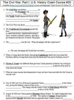 Crash Course U.S. History #20 (The Civil War, Part I) worksheet