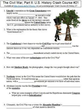 U.S. History Crash Course #21 (The Civil War, Part II) worksheet
