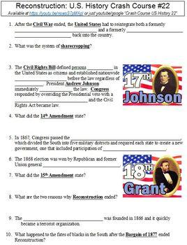 Crash Course U.S. History #22 (Reconstruction) worksheet
