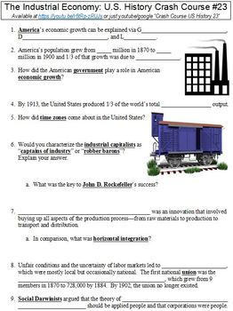 U.S. History Crash Course #23 (The Industrial Economy) worksheet