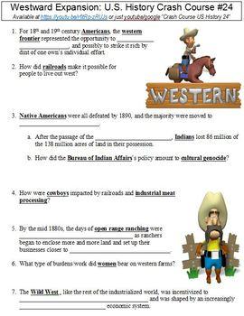U.S. History Crash Course #24 (Westward Expansion) worksheet