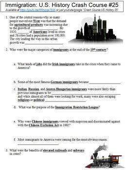 Crash Course U.S. History #25 (Immigration) worksheet