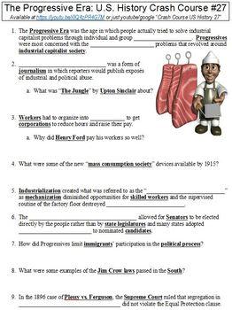 Crash Course U.S. History #27 (The Progressive Era) worksheet