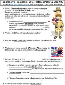 crash course u s history 29 progressive presidents worksheet. Black Bedroom Furniture Sets. Home Design Ideas