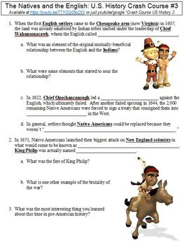 U.S. History Crash Course #3 (The Natives and the English) worksheet