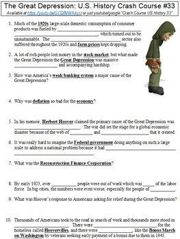 Crash Course U.S. History #33 (The Great Depression) worksheet | TpT