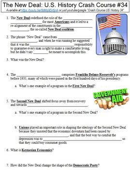 Crash Course U S History 34 The New Deal Worksheet By Danis Marandis