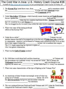 Crash Course U.S. History #38 (The Cold War in Asia) worksheet