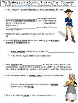U.S. History Crash Course #4 (The Quakers and the Dutch) worksheet