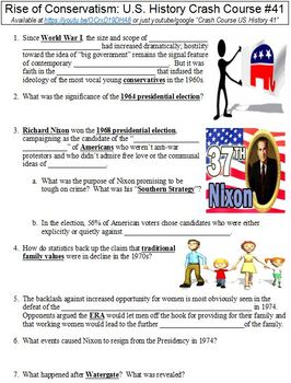 Crash Course U.S. History #41 (Rise of Conservatism) worksheet