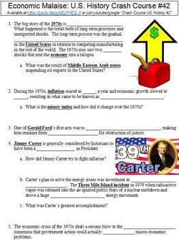 Crash Course U.S. History #42 (Economic Malaise) worksheet