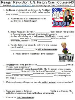 Crash Course U.S. History #43 (Reagan Revolution) worksheet