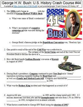Crash Course U.S. History #44 (George H.W. Bush) worksheet