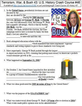 Crash Course U.S. History #46 (Terrorism, War, & Bush 43) worksheet