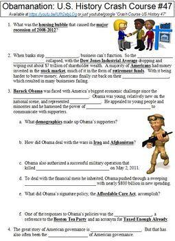 Crash Course U.S. History #47 (Obamanation) worksheet