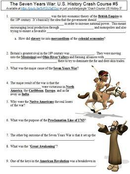 U.S. History Crash Course #5 (The Seven Years War) worksheet