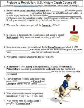 Crash Course U.S. History #6 (Prelude to Revolution) worksheet