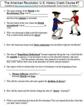 Crash Course U.S. History #7 (The American Revolution) worksheet
