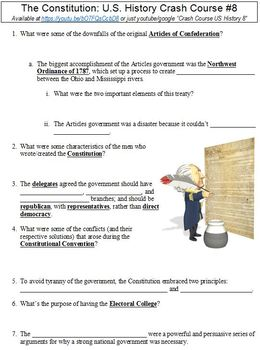 U.S. History Crash Course #8 (The Constitution) worksheet