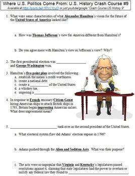 U.S. History Crash Course #9 (Where U.S. Politics Come From) worksheet
