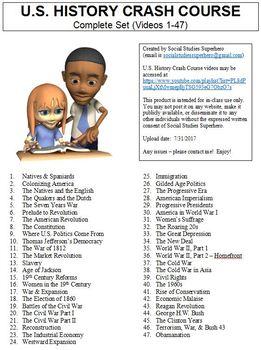 Crash Course US History Worksheets Complete Set (Full Collection Episodes 1-47)