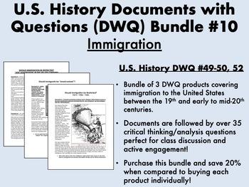 U.S. History Documents with Questions (DWQ) Bundle #10 - Immigration