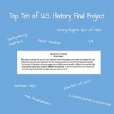 U.S. History Final Project - Top Ten Events