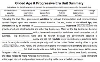 U.S. History: Gilded Age & Progressive Era Vocabulary Set (AP & On/Below Level)