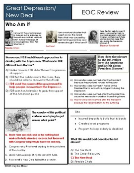 U S History Great Depression Review