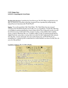 U.S History: The Happy Days 1945-1960: Unit Plan: Lesson Plans
