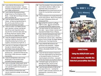 U.S. History II:  The WHO'S Who of U.S. History II