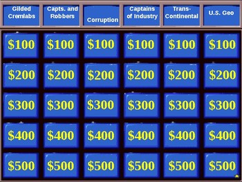 U.S. History Jeopardy Review:  The Gilded Age