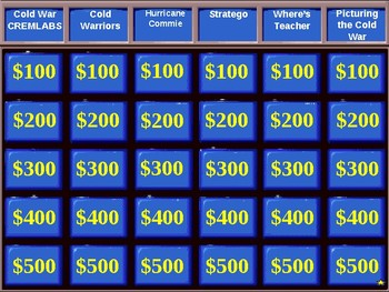 U.S. History Jeopardy Review:  The Cold War Review