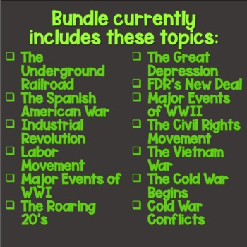 U.S. History Back to School BUNDLE (12 PowerPoints PLUS Student Guides)