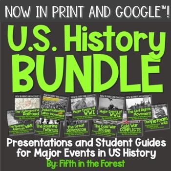 US History BUNDLE 12 PowerPoints PLUS Student Guides