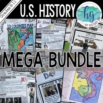 Us history timeline for classroom teaching resources teachers pay us history mega bundle us history mega bundle fandeluxe Images