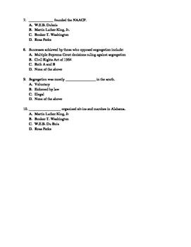 U.S History Notes & Quiz: Civil Rights