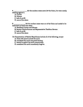 U.S History Notes & Quiz: Reconstruction Part 1