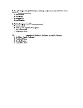 U.S History Notes & Quiz: World War I (part 1 of 3: Background)