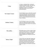 US History Regents Printable Vocabulary Cards: Terms and Definitions Together