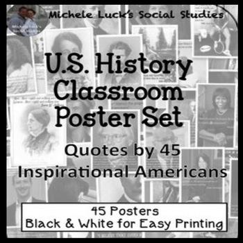 U.S. History Quotes Classroom Posters Bulletin Board Wall Decor Set