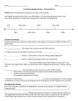 U.S. History Regents Review Sheets 1 - 4 Fill-in Activities and Multiple Choice