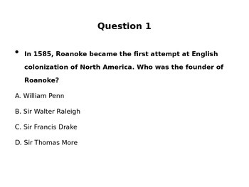 U.S. History Review and Test Prep Questions: Colonization to Revolution