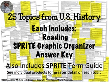 U.S. History SPRITE Reading Writing & Social Studies Graphic Organizer Set